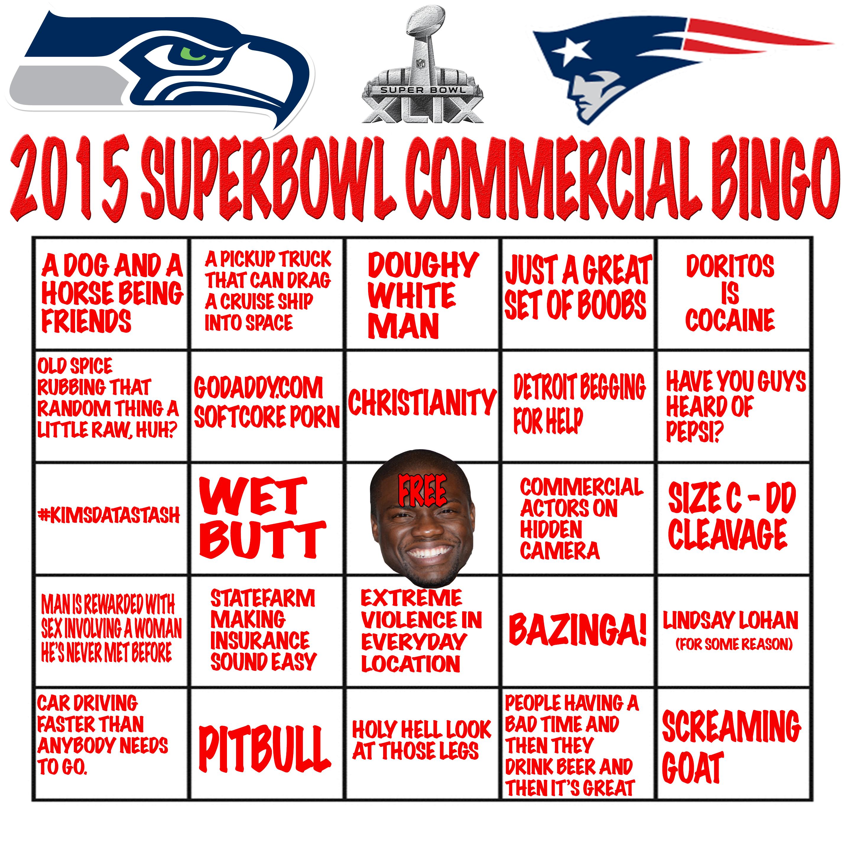 Printable Superbowl mercial Bingo Card