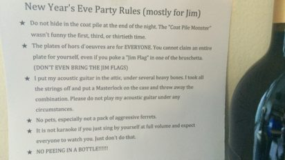 REVENGE NOTE: NEW YEAR'S EVE PARTY RULES (MOSTLY FOR JIM)