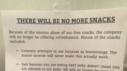 REVENGE NOTE: There Will Be No More Snacks