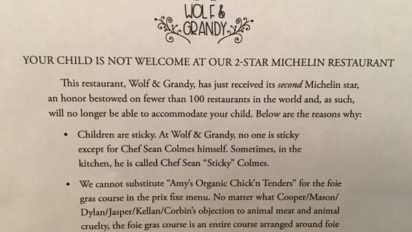 REVENGE NOTE: Your Child Is Not Welcome At Our 2-Star Michelin Restaurant