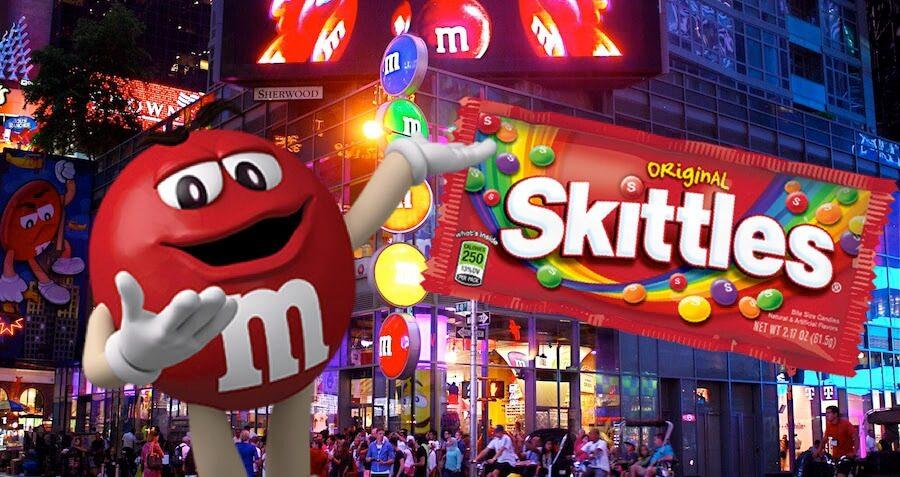 Image result for skittles vs. m&m's