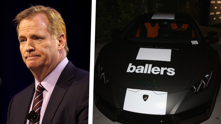 "NFL commissioner Roger Goodell may begin levying suspensions for appearing on HBO's ""Ballers"". (Getty)"