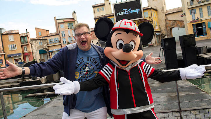 "(JAN. 11, 2013): Actor Drew Carey, host of ""The Price is Right,"" poses Jan. 11, 2013 with Mickey Mouse at a kickoff celebration at Disney's Hollywood Studios in Lake Buena Vista, Fla. for the ""2013 Walt Disney World Marathon Weekend.""  Carey is one of the special guests attending the annual weekend of endurance races and health & fitness seminars at Walt Disney World. (Ali Nasser, photographer)"