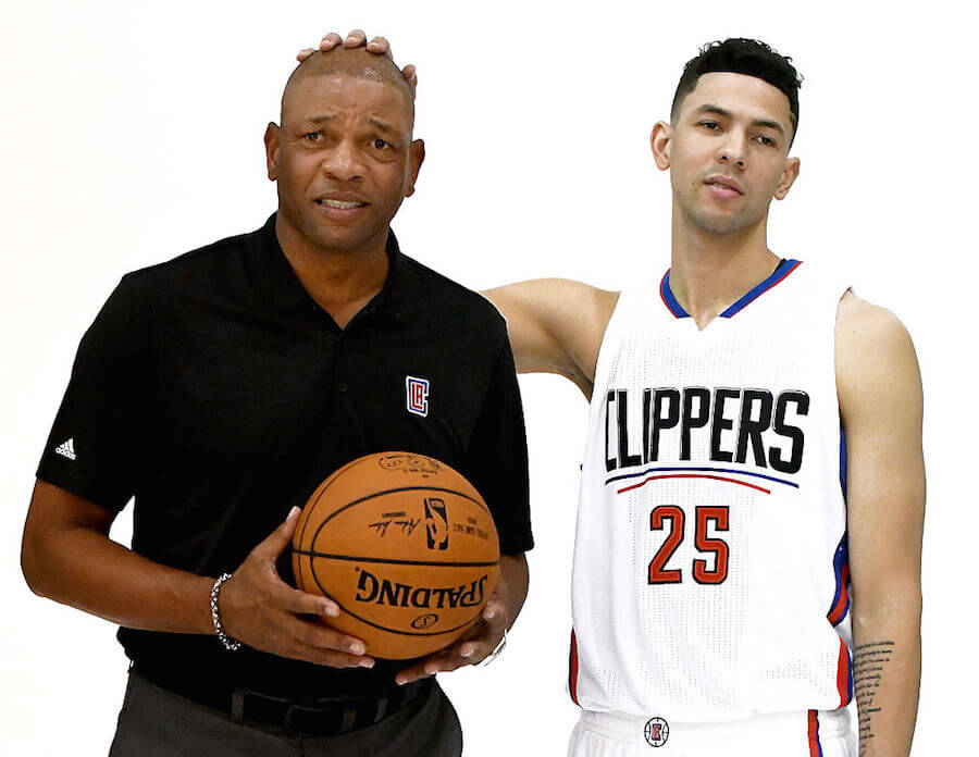 LOS ANGELES, CALIFORNIA - SEPTEMBER 26: Doc Rivers of the Los Angeles Clippers with his son Austin Rivers #25 during media day at the Los Angeles Clippers Training Center on September 26, 2016 in Playa Vista, California.  NOTE TO USER: User expressly acknowledges and agrees that, by downloading and/or using this photograph, user is consenting to the terms and conditions of the Getty Images License Agreement. Mandatory copyright notice. (Photo by Jayne Kamin-Oncea/Getty Images)