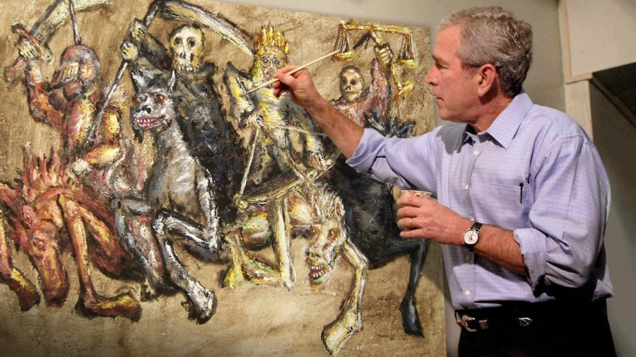 Bad sign george w bush appears to be painting the apocalypse for George bush painting