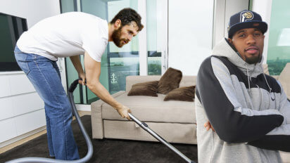 After Cavs Sweep, Kevin Love Vacuums Paul George's Living Room
