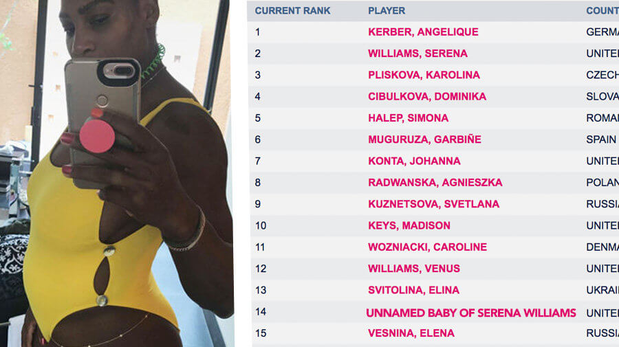 Confirmed: Serena Pregnant, Baby Already Ranked 14th In World