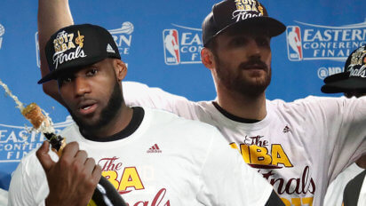 Aww: Kevin Love Asks LeBron For Help Opening Champagne Bottle